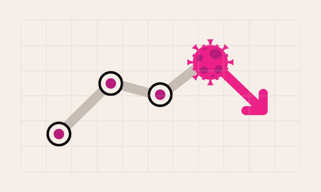 Covid business performance graph illustration